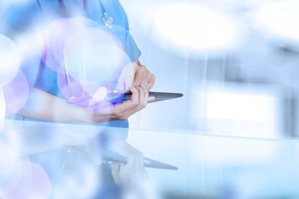 double exposure of success smart medical doctor working with abstract blurry bokeh  background as concept